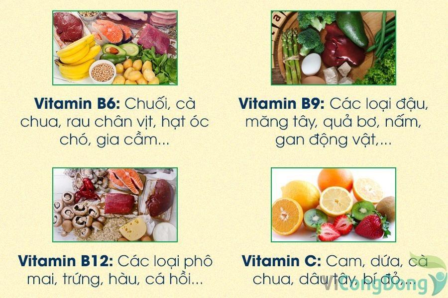 Các thực phẩm chứa nhiều vitamin